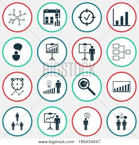 Executive Icons Set. Collection Of Solution Demonstration, Report Demonstration, Special Demonstration And Other Elements. Also Includes Symbols Such As Progress, Cooperation, Research.