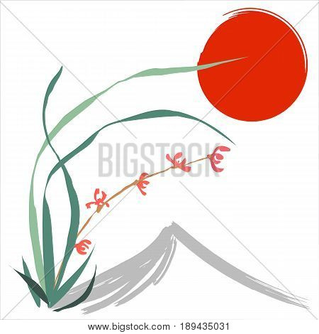 Hand-drawing ink illustration, vector stylization. Wild orchid, red flowers. Background of mountain and red sun. Japanese painting style sumi-e. Traditional Chinese painting gohua.