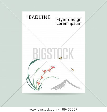 Flyer design. Letter format. Wild orchid, red flowers. Background from the mountain, flying bumblebee. Japanese painting style sumi-e. Traditional Chinese painting gohua. Hand-drawing ink illustration, vector stylization.