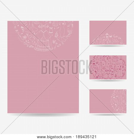 Set of blank templates. Business cards and letterhead paper. Illustration with fashion pattern, various clothing items and accessories Various clothes and accessories in a circle, sketch hand-drawing style. Vector illustration