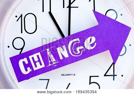 Time for Change - clock with change written on arrow