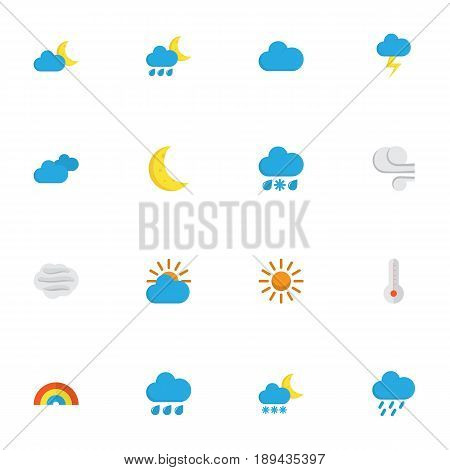 Nature Flat Icons Set. Collection Of Drizzles, Bow, Sun And Other Elements. Also Includes Symbols Such As Blizzard, Sunny, Flash.
