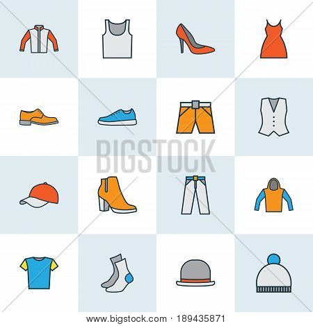 Garment Colorful Outline Icons Set. Collection Of Female Boots, Trousers, Dress And Other Elements. Also Includes Symbols Such As Heels, Tunic, Shoes.