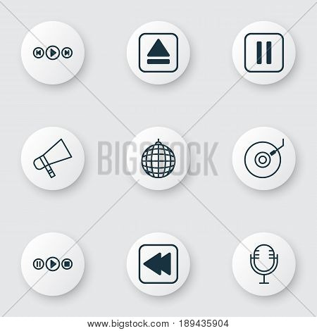 Audio Icons Set. Collection Of Mute Song, Gramophone, Mike And Other Elements. Also Includes Symbols Such As Party, Audio, Back.