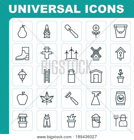 Icons Set. Collection Of Birdhouse, Dwarf, Floret And Other Elements. Also Includes Symbols Such As Mill, Labor, Water.