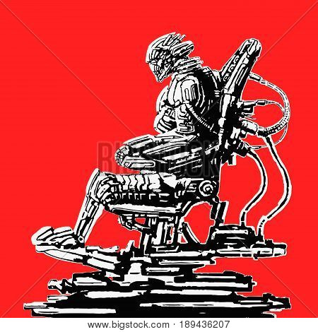 Cyborg pilot sits in suit on his iron throne. Science fiction original character. Vector illustration.