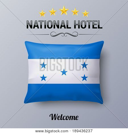 Realistic Pillow and Flag of Honduras as Symbol National Hotel. Flag Pillow Cover with Honduran flag