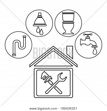 sketch contour house with wrench cross inside and icons plumbing vector illustration