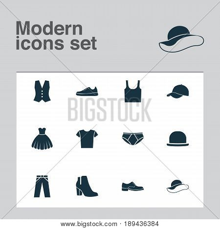 Garment Icons Set. Collection Of Female Winter Shoes, Briefs, Casual And Other Elements. Also Includes Symbols Such As Sneakers, Visor, Sleeveless.