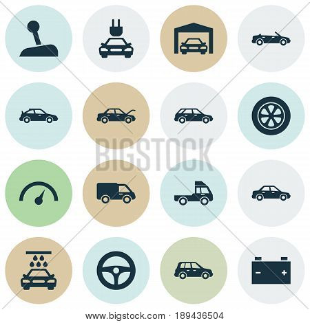 Auto Icons Set. Collection Of Chronometer, Accumulator, Hatchback And Other Elements. Also Includes Symbols Such As Wheel, Car, Lever.