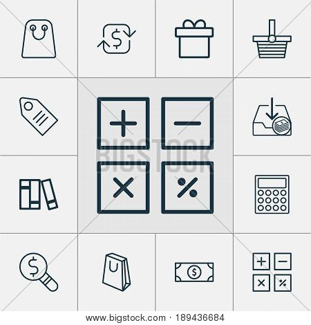 Commerce Icons Set. Collection Of Withdraw Money, Bookshelf, Handbag Elements. Also Includes Symbols Such As Gift, Download, Trade.