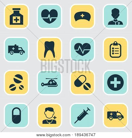 Antibiotic Icons Set. Collection Of Dental, First-Aid, Mark And Other Elements. Also Includes Symbols Such As Hat, Cap, Painkiller.