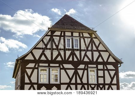 Historical half timbered house in hesse germany