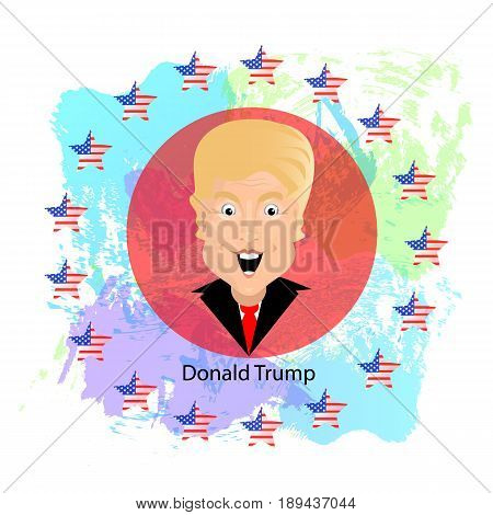 Donald Trump President of the United States and Independence Day. Illustration for your design. Vector. President on a background of a circle of stars and a map