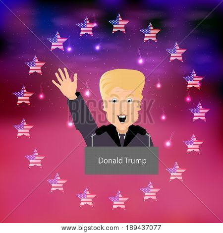 Donald Trump President of the United States and Independence Day. Illustration for your design. Vector. President waving a greeting hand against the background of a circle of stars