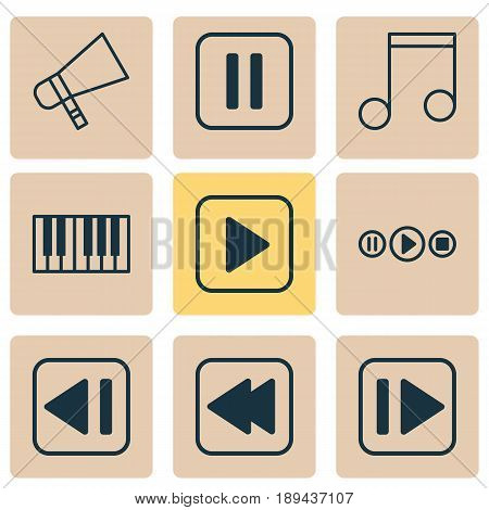 Audio Icons Set. Collection Of Rewind Back, Song UI, Note And Other Elements. Also Includes Symbols Such As Megaphone, Piano, Button.