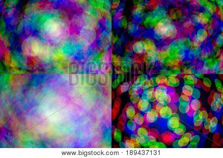 set of natural rgb lens blur on dark bokeh backgrounds