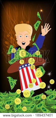 Donald Trump President of the United States and Independence Day. Illustration for your design. Vector. Magician money out of a hat. Profit, dollars, green and paper. Gold coins and a magic wand