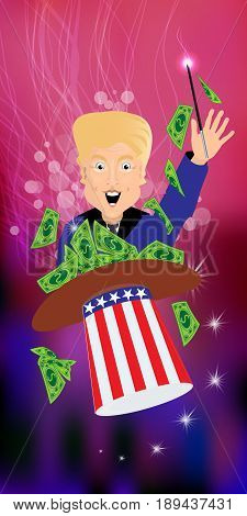 Donald Trump President of the United States and Independence Day. Illustration for your design. Vector. Magician money out of a hat. Profit, dollars, green and paper.