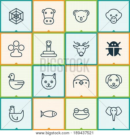 Nature Icons Set. Collection Of Kine, Baboon, Moose And Other Elements. Also Includes Symbols Such As Print, Duck, Fish.