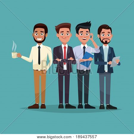 color background full body set of men characters for business vector illustration