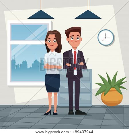 color background workplace office full body set pair of woman short wavy hair and man with formal suit characters for business vector illustration