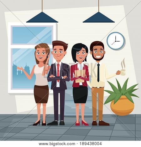 color background workplace office full body set of executives characters for business vector illustration