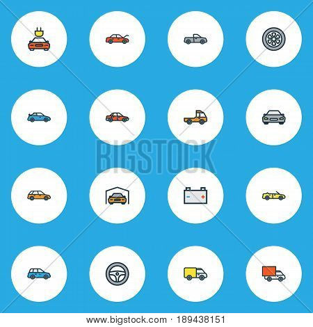 Automobile Colorful Outline Icons Set. Collection Of Automobile, Pickup, Sedan And Other Elements. Also Includes Symbols Such As Cabriolet, Steering, Electric.