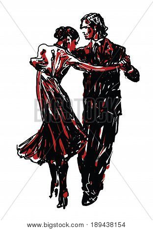 Sketched  Danceers in black and red - vector illustration