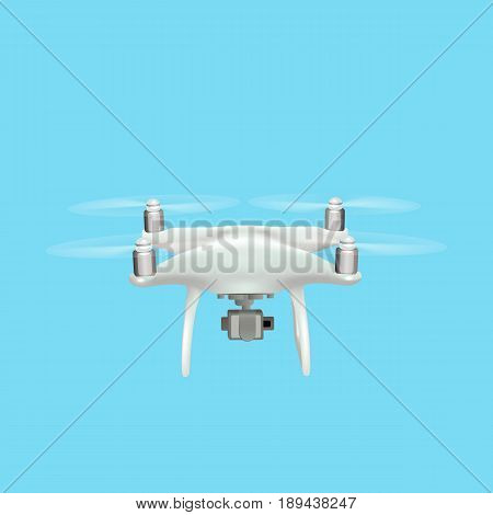 Realistic drone quadrocopter with camera flying in the sky. Vector illustration.