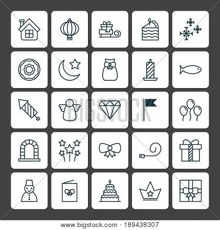 Holiday Icons Set. Collection Of Arch, Fishing, Butterfly Knot And Other Elements. Also Includes Symbols Such As Snow, Wax, Brilliant.