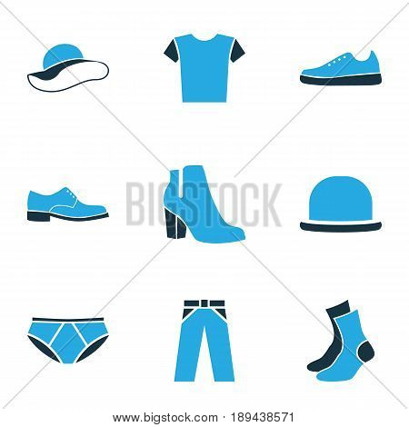 Garment Colorful Icons Set. Collection Of Socks, Trousers, Elegant Headgear And Other Elements. Also Includes Symbols Such As Footwear, Pants, Hat.