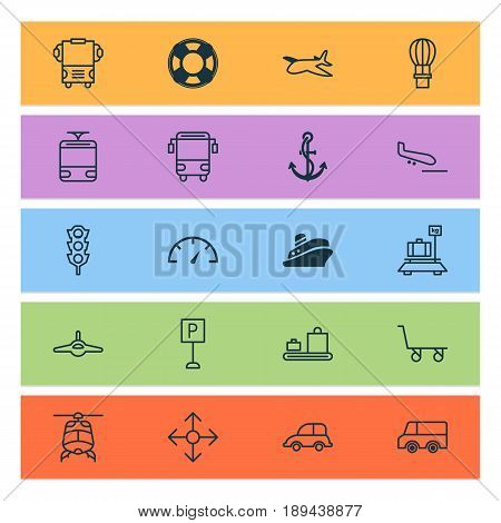 Delivery Icons Set. Collection Of Roadsign, Lorry, Lifebuoy And Other Elements. Also Includes Symbols Such As Traffic, Transport, Arrival.