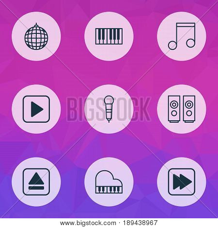 Multimedia Icons Set. Collection Of Start Song, Dance Club, Microphone And Other Elements. Also Includes Symbols Such As Box, Disco, Mike.