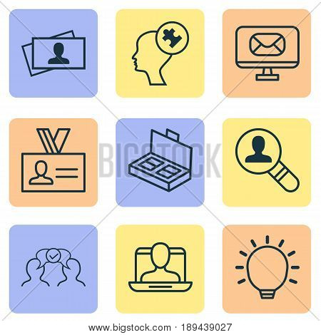 Management Icons Set. Collection Of Human Mind, Great Glimpse, Social Profile And Other Elements. Also Includes Symbols Such As Solution, Employee, Business.