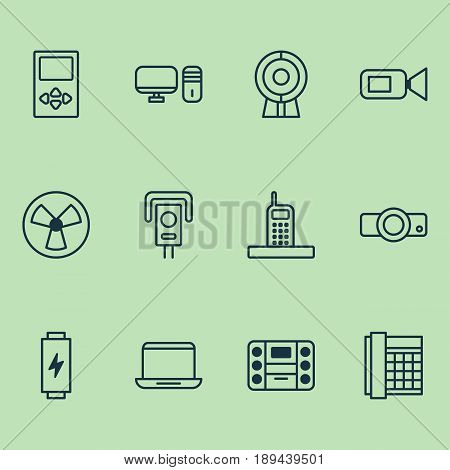 Device Icons Set. Collection Of Notebook, Work Phone, Security Camera And Other Elements. Also Includes Symbols Such As Office, Camcorder, Notebook.