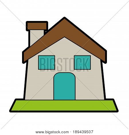 house or home with chimney icon image vector illustration design