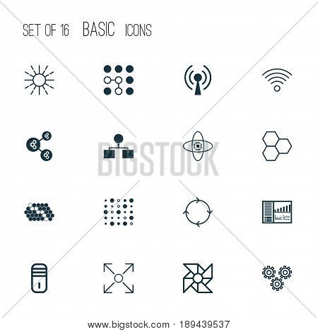 Robotics Icons Set. Collection Of Algorithm Illustration, Wireless Communications, Controlling Board And Other Elements. Also Includes Symbols Such As Processor, Cells, Brain.