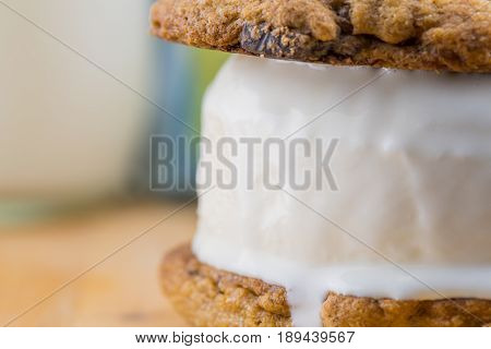 Side Of Melting Chocolate Chip Cookie Ice Cream Sandwich