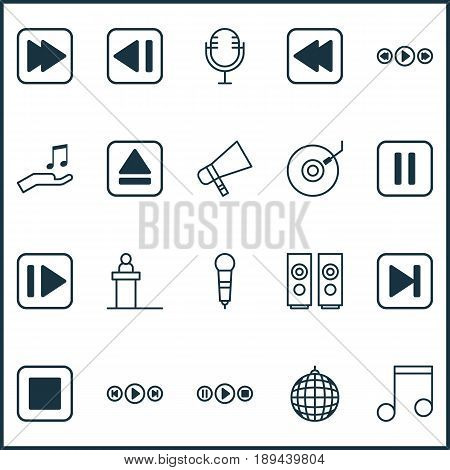 Audio Icons Set. Collection Of Bullhorn, Mute Song, Mike And Other Elements. Also Includes Symbols Such As Party, Bullhorn, Next.