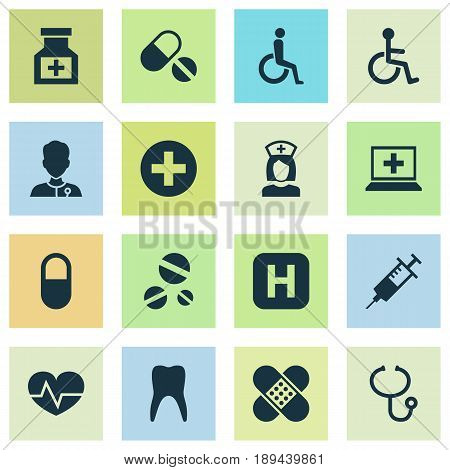 Antibiotic Icons Set. Collection Of Cure, Plus, Review And Other Elements. Also Includes Symbols Such As Pellets, Nanny, Plaster.
