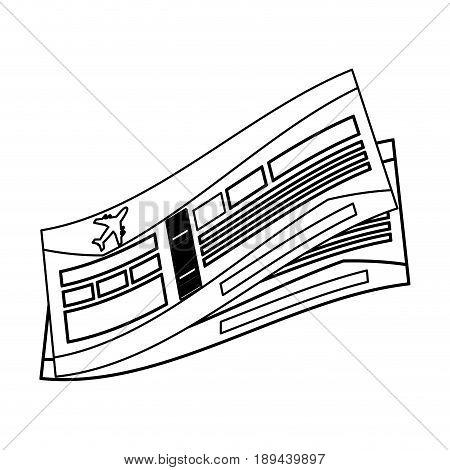 flight boarding pass icon image vector illustration design  black line