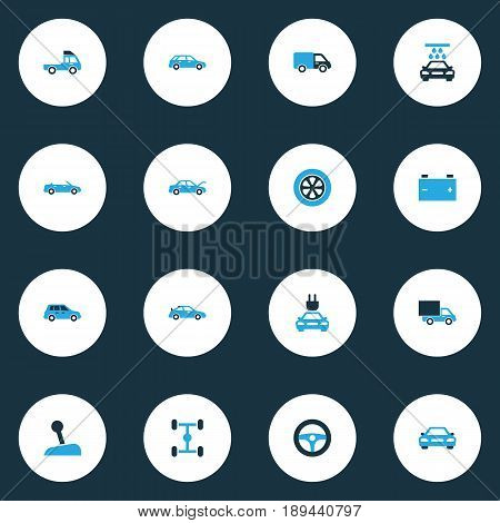 Auto Colorful Icons Set. Collection Of Vehicle Wash, Van, Car And Other Elements. Also Includes Symbols Such As Steering, Wagon, Car.