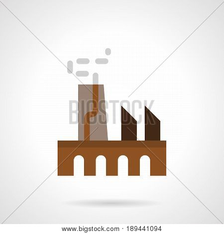 Abstract symbol of manufacturing factory. Industrial architecture concept. Flat color style vector icon.