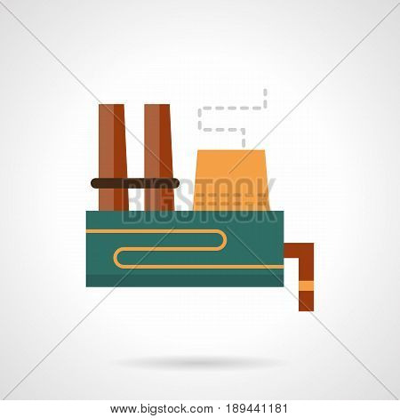 Abstract symbol of heavy industry building. Industrial architecture concept. Flat color style vector icon.