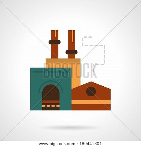 Abstract symbol of steel factory facility. Industrial architecture concept. Flat color style vector icon.