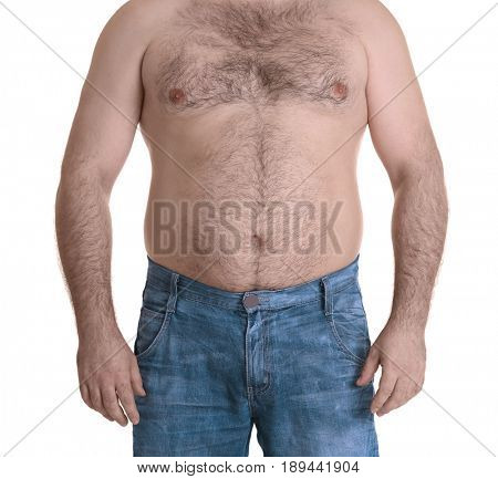 Adult man in jeans on white background. Weight loss concept