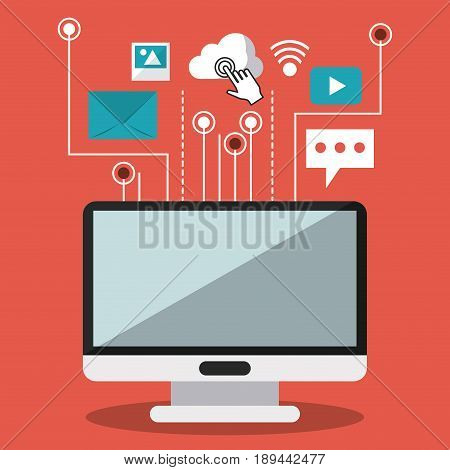 colorful background of desktop computer and link to common icons vector illustration