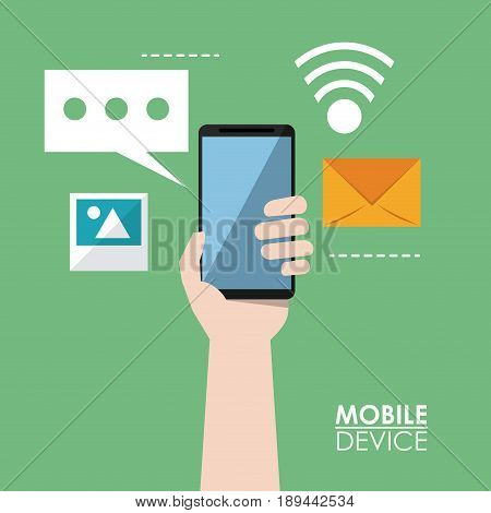 colorful poster of mobile devices with hands holding smartphone and common icons in background vector illustration