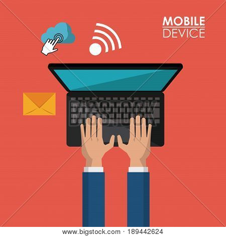 red background poster of mobile device with hands and laptop computer and common icons in top view vector illustration
